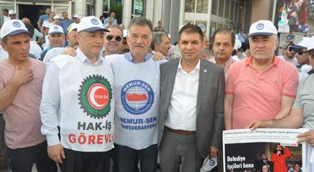 """İzmit Belediyesi önünde """"Fatma işçi atma"""" sesleri"""