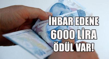 İHBAR EDENE 6000 LİRA ÖDÜL VAR!