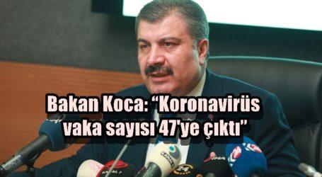 """Bakan Koca """"Koronavirüs vaka sayısı 47'ye çıktı"""""""