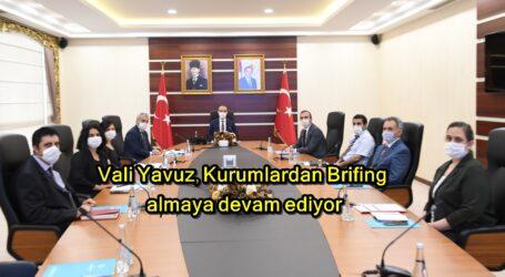 Vali Yavuz, Kurumlardan Brifing almaya devam ediyor