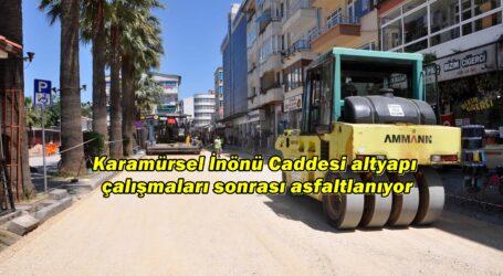 Karamürsel İnönü Caddesi altyapı çalışmaları sonrası asfaltlanıyor