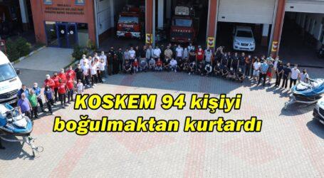 KOSKEM 94 kişiyi boğulmaktan kurtardı